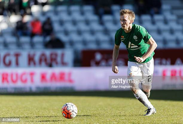 Soeren Reese of Viborg controls the ball during the Danish Alka Superliga match between Viborg FF and FC Nordsjalland at Energi Viborg Arena on...