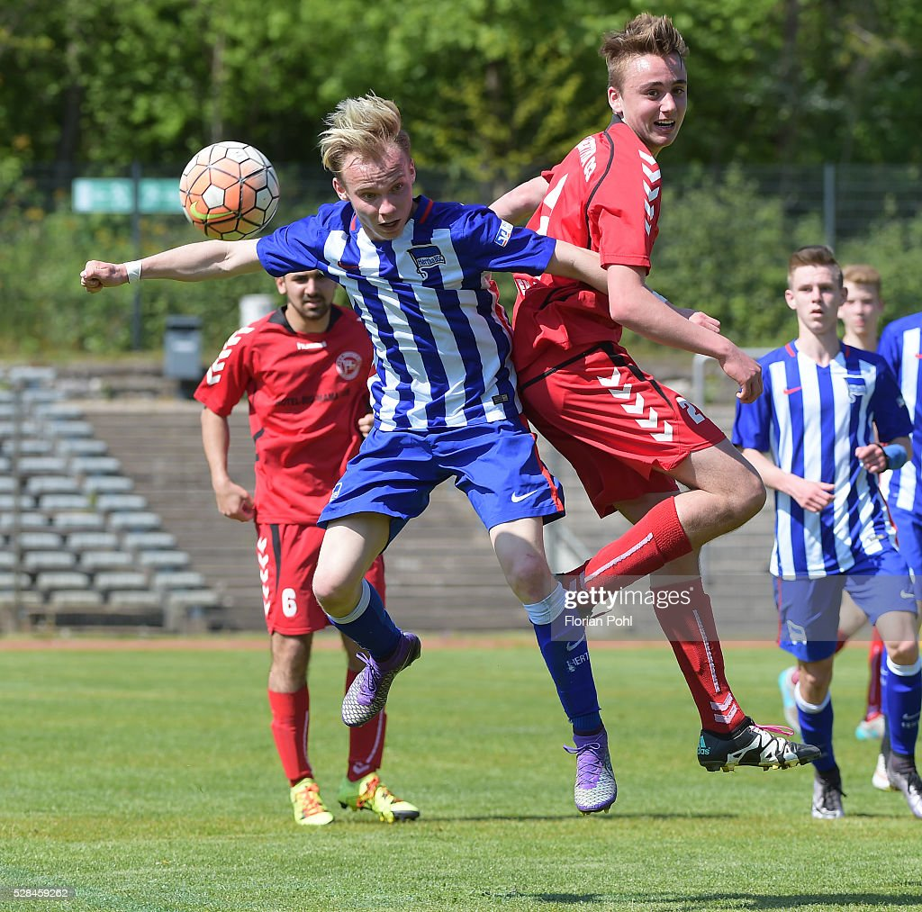Soeren Zeidler of FC Hertha 03 During the B-juniors cup match between FC Hertha 03 and Hertha BSC on May 5, 2016 in Berlin, Germany.