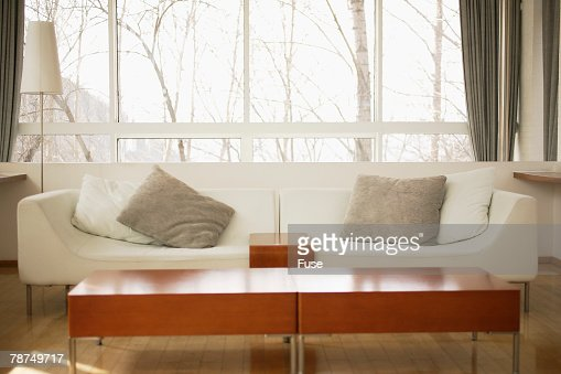 Sofa and Coffee Table in Front of Window