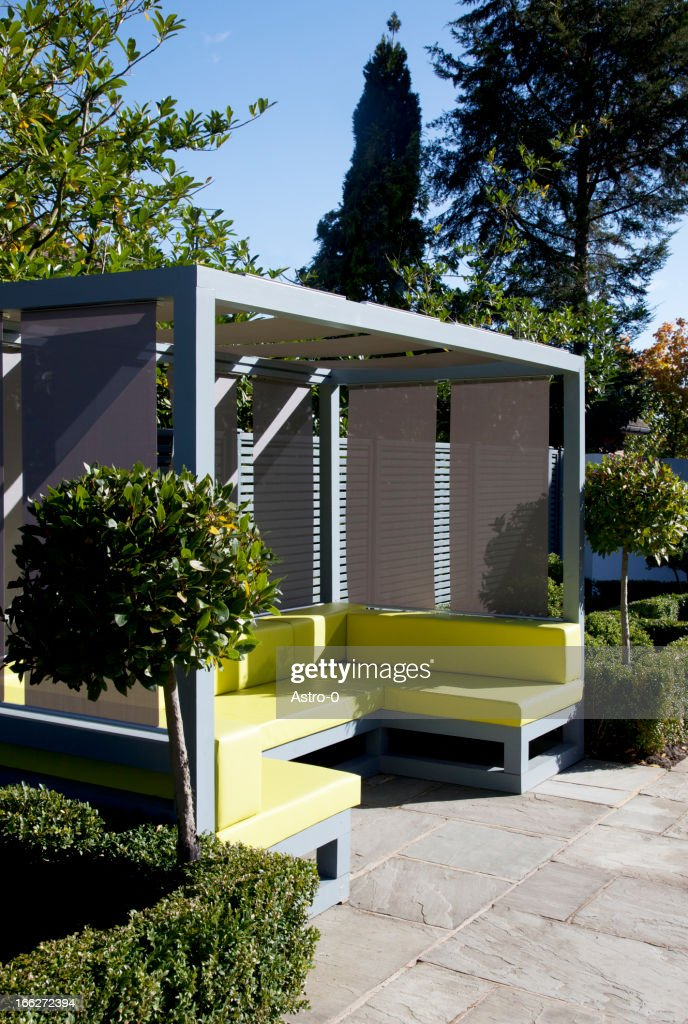 Sofa and gazebo in modern backyard : Stock Photo