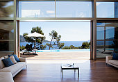 sofa and sliding doors in open modern house