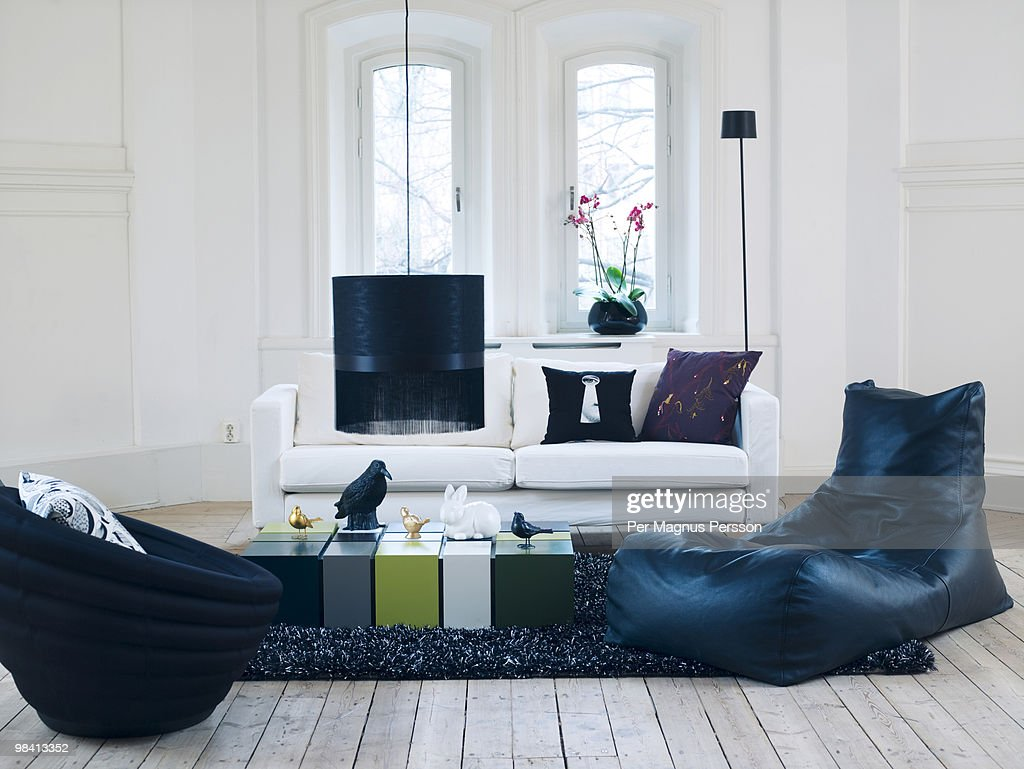 A sofa in a living room Sweden.