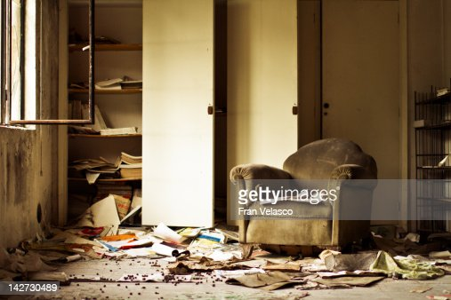 Sofa in abandoned building : Stock Photo