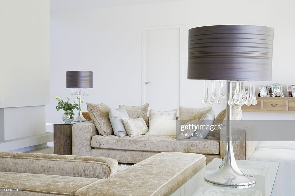 Sofa in living room of modern home : Stock Photo
