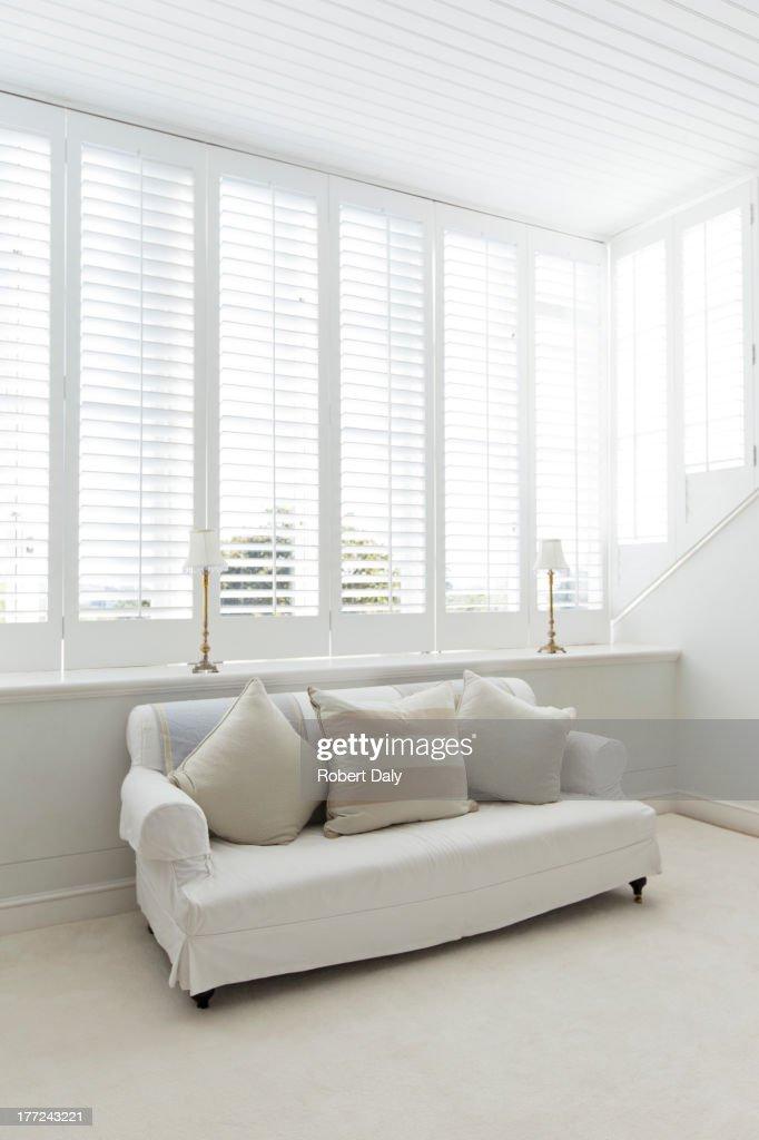 Sofa in white living room : Stock Photo