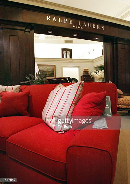 A sofa is displayed near the Ralph Lauren Home furnishings department in the new Bloomingdale's Home and Furniture store January 27 2003 in Chicago...