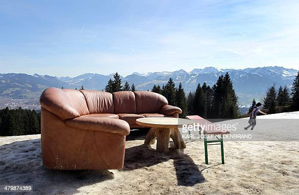 A sofa stands ready to be used by hikers and guests of the Hochbichl alpine hut near Ofterschwang southern Germany on March 21 2014 AFP PHOTO / DPA /...