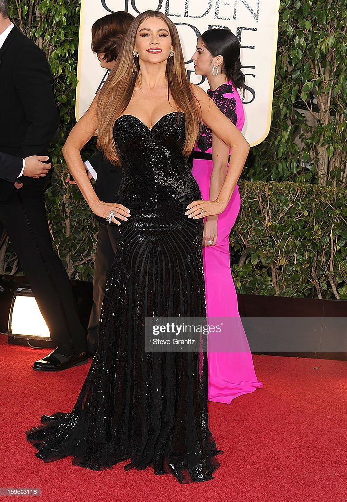 Sof'a Vergara arrives at the 70th Annual Golden Globe Awards at The Beverly Hilton Hotel on January 13, 2013 in Beverly Hills, California.