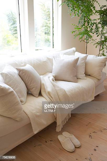 Sofa with matching slippers in living room