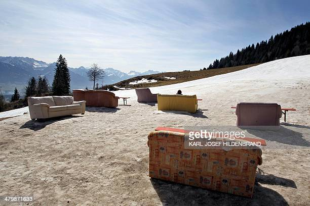 Sofas and armchairs stand ready to be used by hikers and guests of the Hochbichl alpine hut near Ofterschwang southern Germany on March 21 2014 AFP...