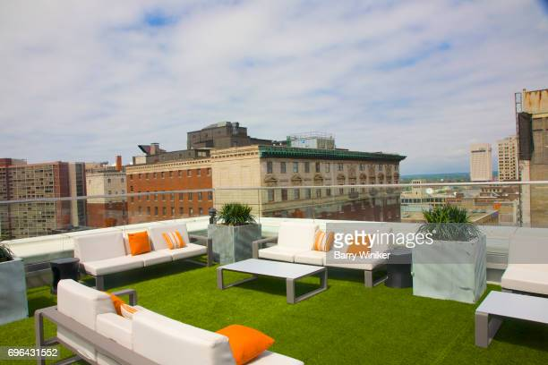 Sofas at Azure Rooftop Bar in Downtown Cleveland, OH