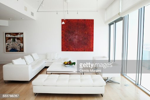 Sofas Coffee Table And Wall Art In Modern Living Room Stock Photo ...