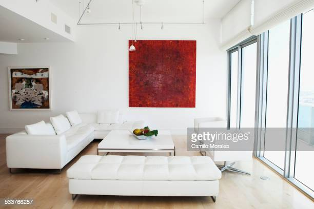 Sofas, coffee table and wall art in modern living room