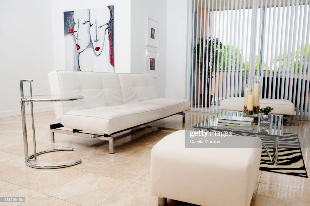 Sofas, ottomans and coffee table in modern living room
