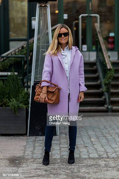 Sofi Fahrman outside Whyred during the Fashion Week Stockholm Autumn/Winter 2016 on February 1 2016 in Stockholm Sweden