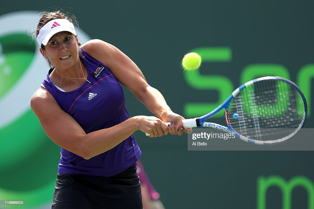 <a gi-track='captionPersonalityLinkClicked' href=/galleries/search?phrase=Sofia+Arvidsson&family=editorial&specificpeople=585512 ng-click='$event.stopPropagation()'>Sofia Arvidsson</a> of Sweden hits a backhand return against Bethanie Mattek-Sands during the Sony Ericsson Open at Crandon Park Tennis Center on March 23, 2011 in Key Biscayne, Florida.