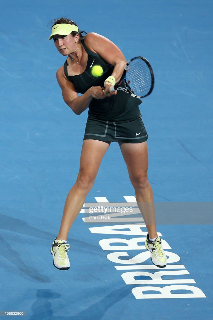 Sofia Arvidsson of Sweden plays a backhand in her match against Stosur of Australia during day two of the Brisbane International at Pat Rafter Arena on December 31, 2012 in Brisbane, Australia.