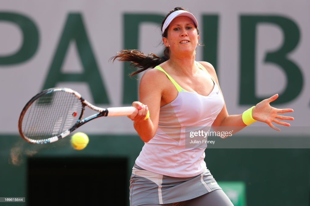 <a gi-track='captionPersonalityLinkClicked' href=/galleries/search?phrase=Sofia+Arvidsson&family=editorial&specificpeople=585512 ng-click='$event.stopPropagation()'>Sofia Arvidsson</a> of Sweden plays a forehand in her Women's Singles match against Sabine Lisicki of Germany during day one of the French Open at Roland Garros on May 26, 2013 in Paris, France.