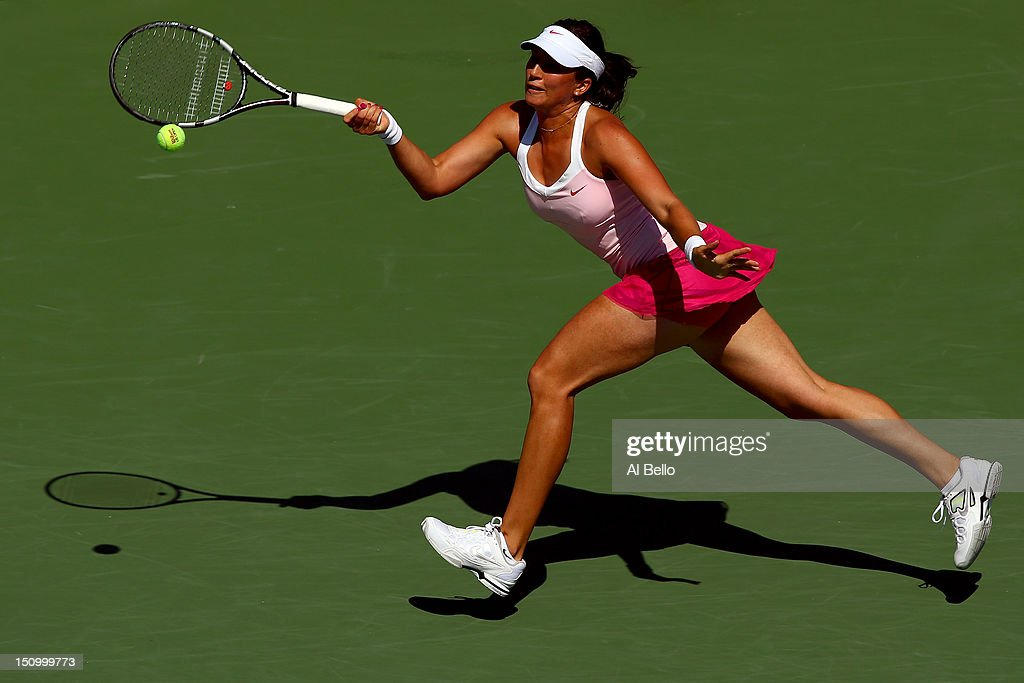 <a gi-track='captionPersonalityLinkClicked' href=/galleries/search?phrase=Sofia+Arvidsson&family=editorial&specificpeople=585512 ng-click='$event.stopPropagation()'>Sofia Arvidsson</a> of Sweden returns a shot against Ana Ivanovic of Serbia during their women's singles second round match Day Four of the 2012 US Open at USTA Billie Jean King National Tennis Center on August 30, 2012 in the Flushing neigborhood of the Queens borough of New York City.