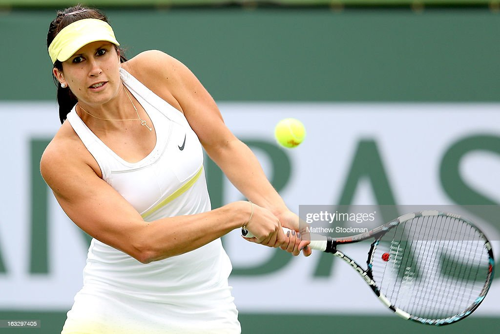 <a gi-track='captionPersonalityLinkClicked' href=/galleries/search?phrase=Sofia+Arvidsson&family=editorial&specificpeople=585512 ng-click='$event.stopPropagation()'>Sofia Arvidsson</a> of Sweden returns a shot to Laura Robson of Great Britain during the BNP Paribas Open at the Indian Wells Tennis Garden on March 7, 2013 in Indian Wells, California.