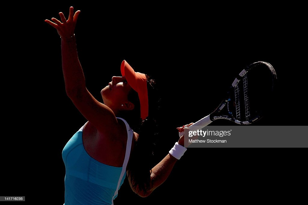 <a gi-track='captionPersonalityLinkClicked' href=/galleries/search?phrase=Sofia+Arvidsson&family=editorial&specificpeople=585512 ng-click='$event.stopPropagation()'>Sofia Arvidsson</a> of Sweden serves to Sabine Lisicki of Germany during the Sony Ericsson Open at the Crandon Park Tennis Center on March 22, 2012 in Key Biscayne, Florida.
