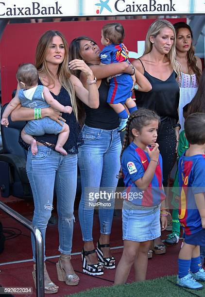 Sofia Balbi the wife of Luis Suarez Antonella Roccuzzothe wife of Leo Messi with his children Thiago and Mateo and the wife of Sergio Busquets during...