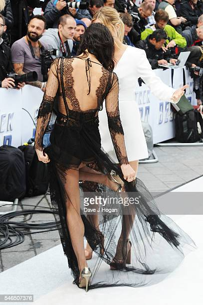 Sofia Boutella dress detail attends the UK Premiere of 'Star Trek Beyond' at Empire Leicester Square on July 12 2016 in London England