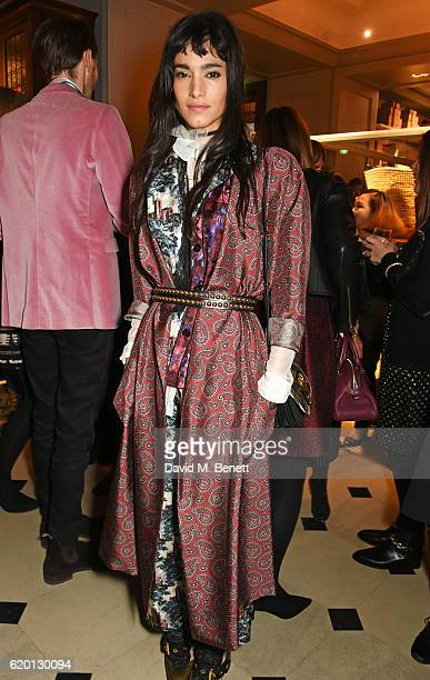 Sofia Boutella wearing Burberry attends an event to celebrate 'The Tale of Thomas Burberry' at Burberry's all day cafe Thomas's on November 1 2016 in...