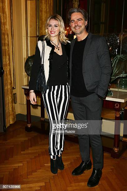 Sofia Bruscoli and Beppe Convertini are seen at Giada Curti Fashion Show during AltaRoma on January 29 2016 in Rome Italy