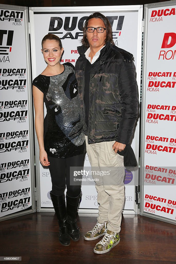 Sofia Bruscoli and Marcelo Fuentes attend the 'Indovina Chi Viene A Natale' party at Ducati Caffe on December 19, 2013 in Rome, Italy.