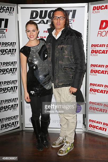 Sofia Bruscoli and Marcelo Fuentes attend the 'Indovina Chi Viene A Natale' party at Ducati Caffe on December 19 2013 in Rome Italy