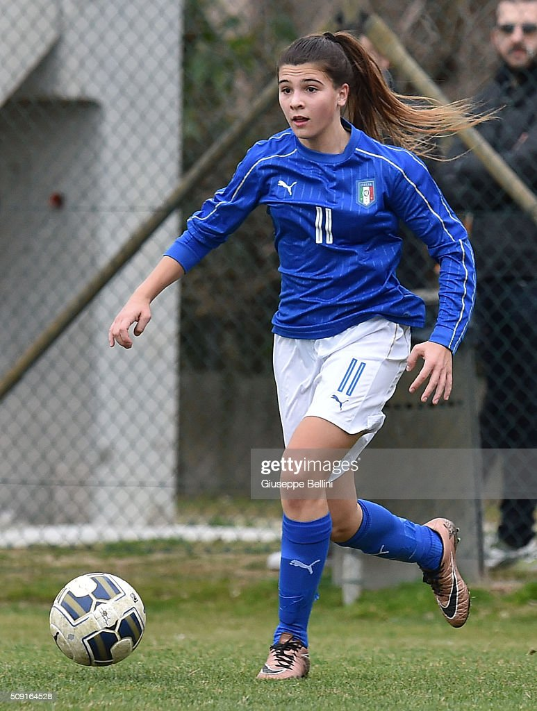Sofia Cantore of Italy in action during the Women's U17 international friendly match between Italy and Norway on February 9, 2016 in Cervia, Italy.