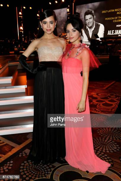 Sofia Carson and Camila Cabello attend the 2017 Person of the Year Gala honoring Alejandro Sanz at the Mandalay Bay Convention Center on November 15...