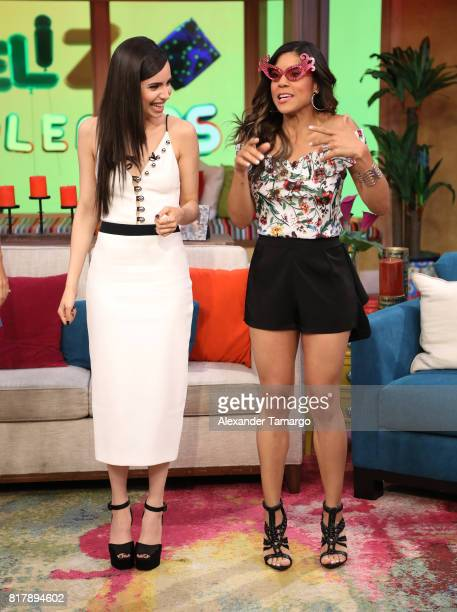 Sofia Carson and Francisca Lachapel are seen on the set of 'Despierta America' to promote the Disney film 'DESCENDENTS 2' at Univision Studios on...