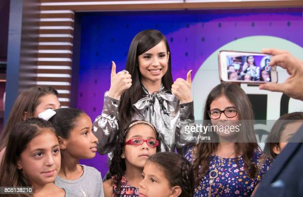 Sofia Carson and her fans are seen at Univision's 'El Gordo Y La Flaca' to promote her film Descendants 2 at Univision Studios on June 30 2017 in...