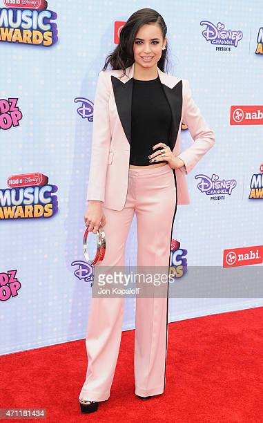 Sofia Carson arrives at the 2015 Radio Disney Music Awards at Nokia Theatre LA Live on April 25 2015 in Los Angeles California