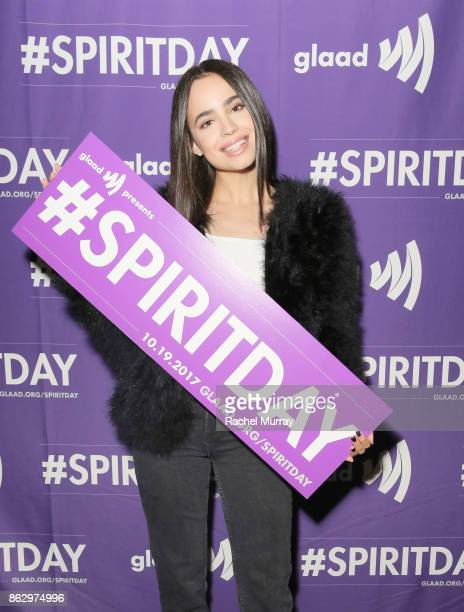 Sofia Carson attends the 'Believer' Spirit Day Concert presented by Justin Tranter and GLAAD at Sayer's Club on October 18 2017 in Los Angeles...