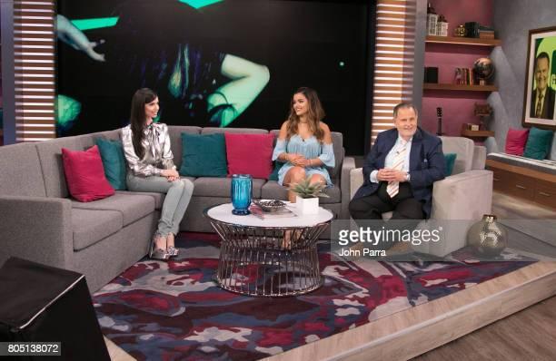 Sofia Carson Clarissa Molina and Raul De Molina are seen at Univision's 'El Gordo Y La Flaca' to promote her film Descendants 2 at Univision Studios...