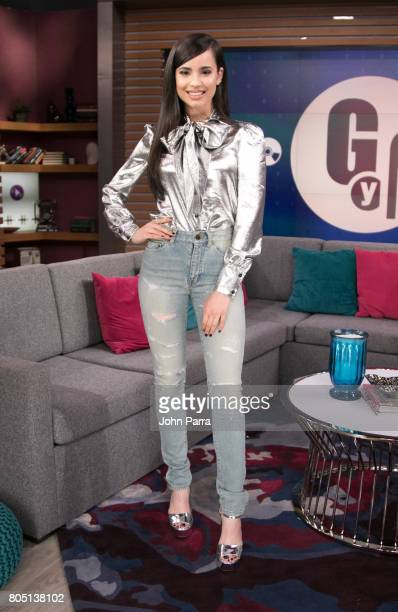 Sofia Carson is seen at Univision's 'El Gordo Y La Flaca' to promote her film Descendants 2 at Univision Studios on June 30 2017 in Miami Florida