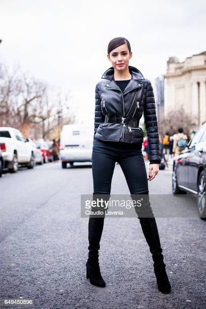 Sofia Carson is seen in the streets of Paris after the Moncler Gamme Rouge show during Paris Fashion Week Womenswear Fall/Winter 2017/2018 on March 7...