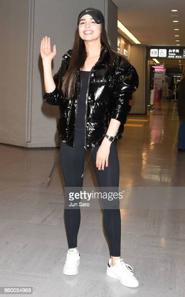 Sofia Carson is seen upon arrival at Narita International Airport on October 11 2017 in Narita Japan