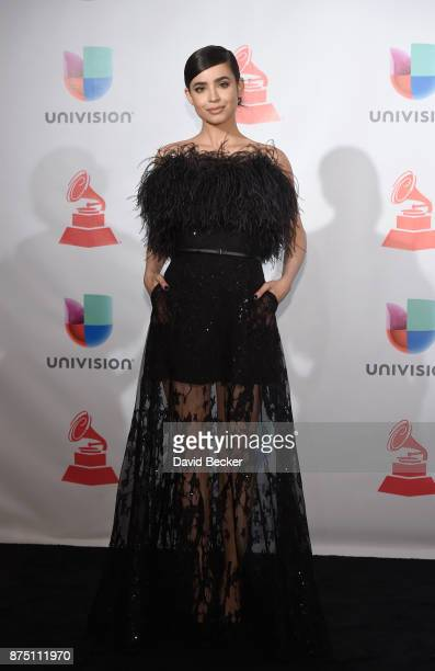 Sofia Carson poses in the press room during The 18th Annual Latin Grammy Awards at MGM Grand Garden Arena on November 16 2017 in Las Vegas Nevada