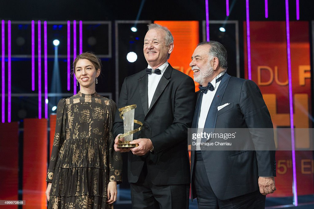 Sofia Coppola, Bill Murray and Francis Ford Coppola attend the Tribute To Bill Murray during the 15th Marrakech International Film Festival on December 4, 2015 in Marrakech, Morocco.