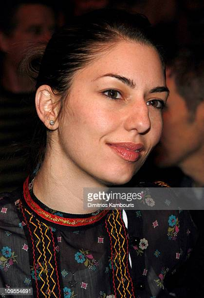 Sofia Coppola during MercedesBenz Fashion Week Fall 2003 Anna Sui Front Row at Bryant Park in New York NY United States