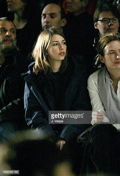 Sofia Coppola during Olympus Fashion Week Fall 2004 Anna Sui Front Row and Backstage at The Tent at Bryant Park in New York City New York United...