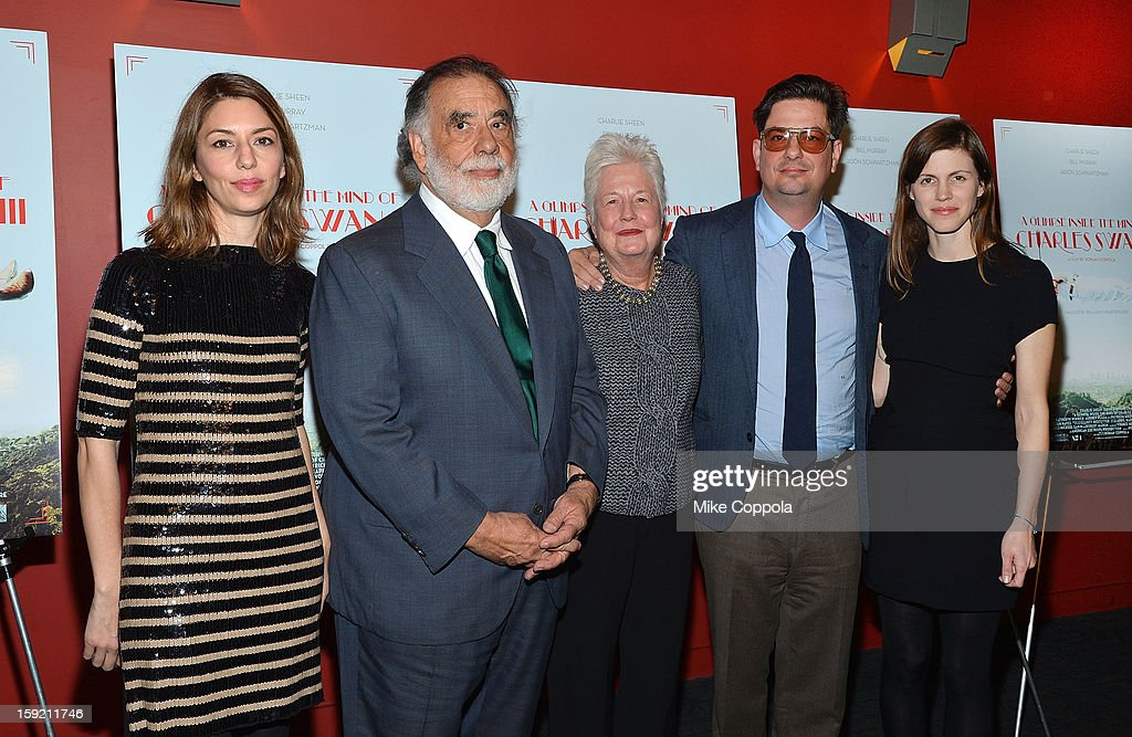 Sofia Coppola, Francis Ford Coppola, Eleanor Coppola, Roman Coppola, and Jennifer Furches attend a screening of 'A Glimpse Inside The Mind Of Charles Swan III' at Landmark Sunshine Cinema on January 9, 2013 in New York City.