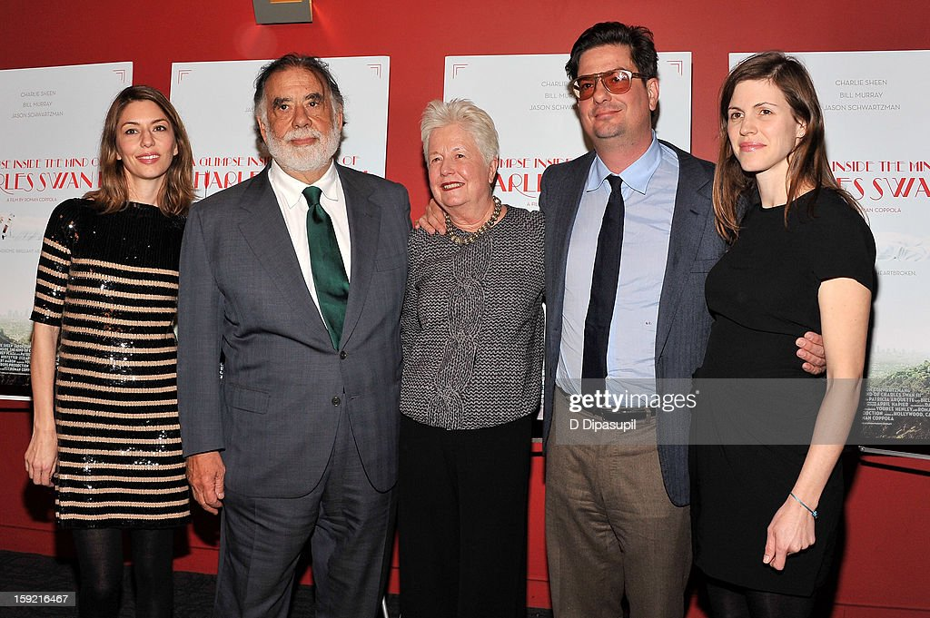 <a gi-track='captionPersonalityLinkClicked' href=/galleries/search?phrase=Sofia+Coppola&family=editorial&specificpeople=202230 ng-click='$event.stopPropagation()'>Sofia Coppola</a>, <a gi-track='captionPersonalityLinkClicked' href=/galleries/search?phrase=Francis+Ford+Coppola&family=editorial&specificpeople=204241 ng-click='$event.stopPropagation()'>Francis Ford Coppola</a>, Eleanor Coppola, <a gi-track='captionPersonalityLinkClicked' href=/galleries/search?phrase=Roman+Coppola&family=editorial&specificpeople=615097 ng-click='$event.stopPropagation()'>Roman Coppola</a>, and Jennifer Furches attend a screening of 'A Glimpse Inside The Mind Of Charles Swan III' at Landmark Sunshine Cinema on January 9, 2013 in New York City.
