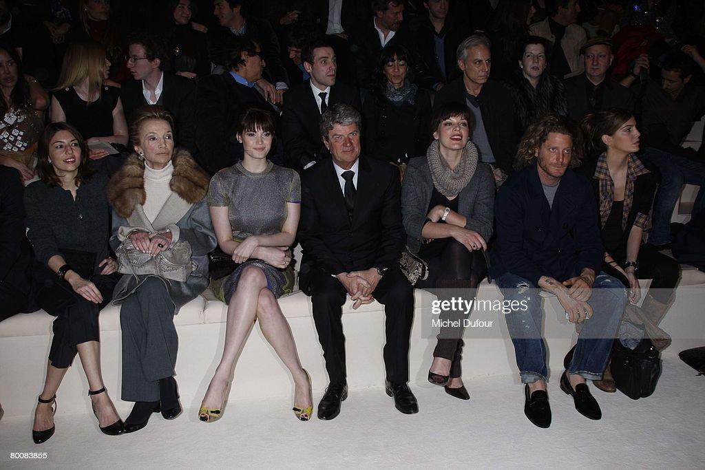 Sofia Coppola Lee RadziwillGemma Arterton Yves Carcelle Milla Jovovich Lapo Elkann and Bianca Brandolini attends the Louis Vuitton Fashion show...