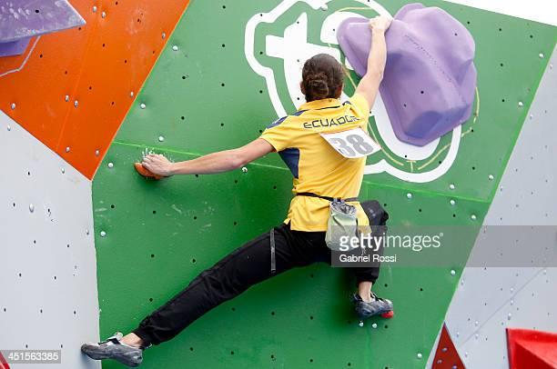 Sofia Correa of Ecuador daughter of Ecuadorean President Rafael Correa competes in the opening day of Sport Climbing as part of the XVII Bolivarian...
