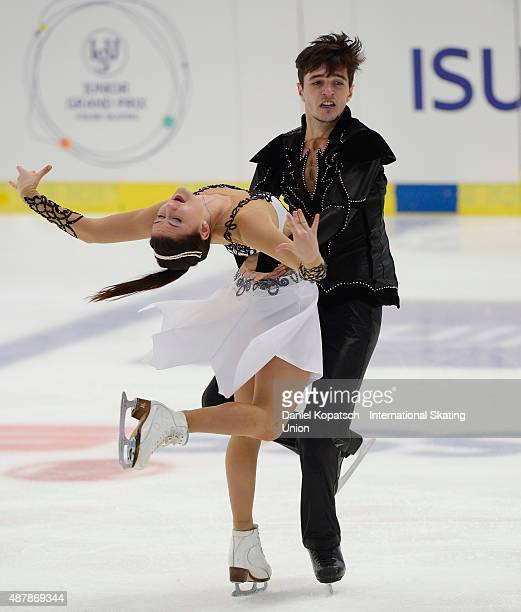 Sofia Evdokimova and Egor Bazin of Russia skate during the junior ice dance free dance on day three of the ISU Junior Grand Prix of figure skating on...